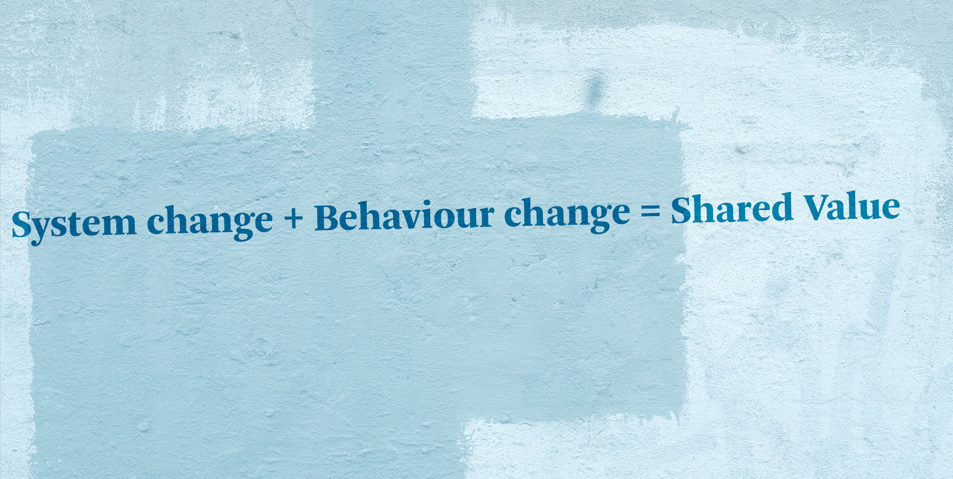 Behaviour and system change to create shared value.