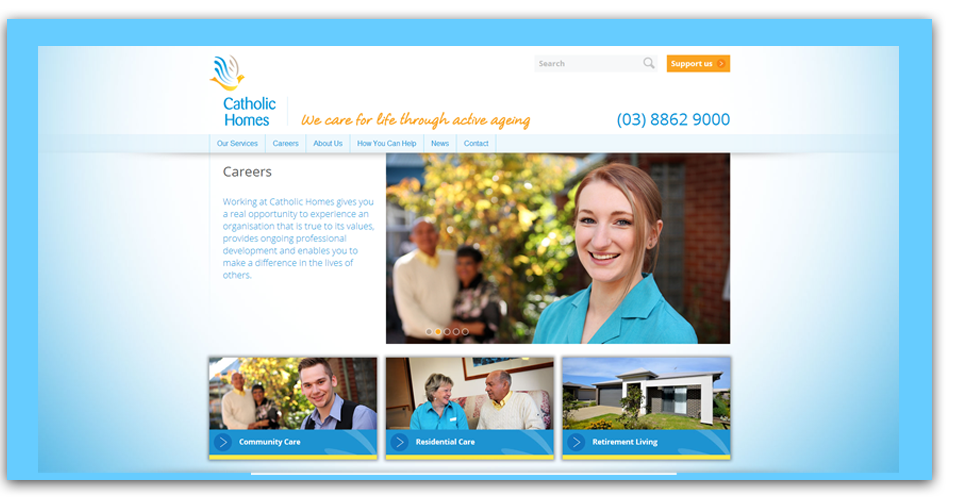 Web design and development for Catholic Homes.