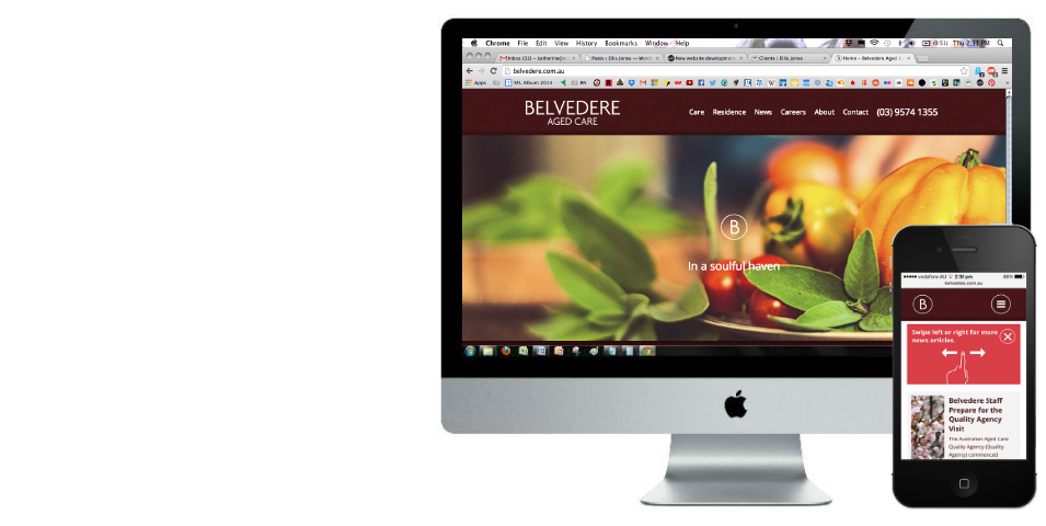 Aged care website development for Belvedere.